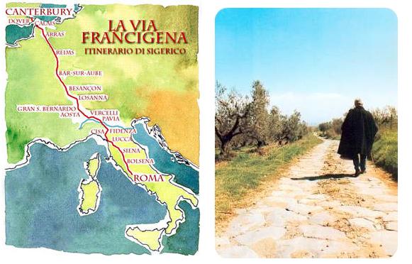 Cartina Storica della Via Francigena