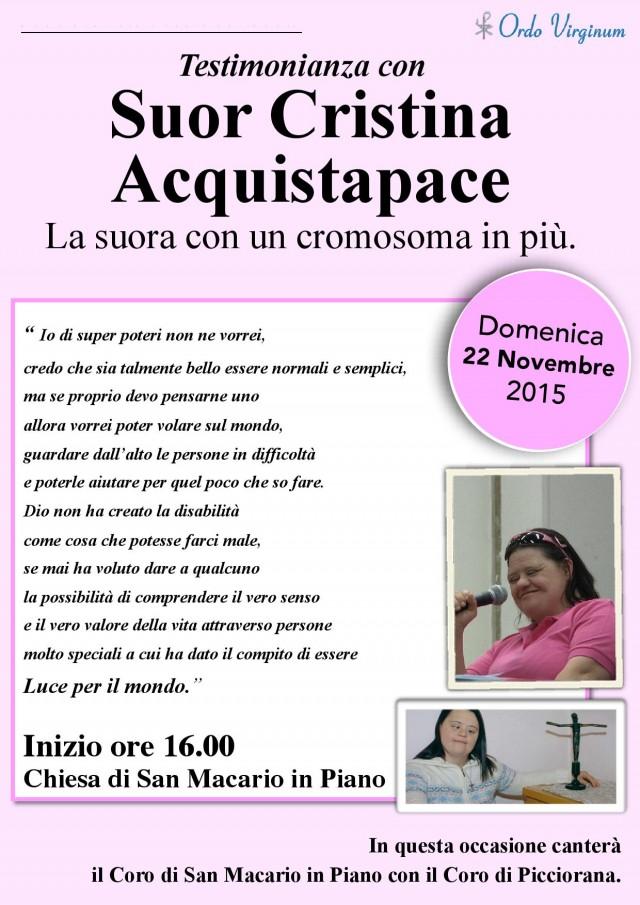 Incontro con Cristina Acquistapace – La Suora con un cromosoma in più.